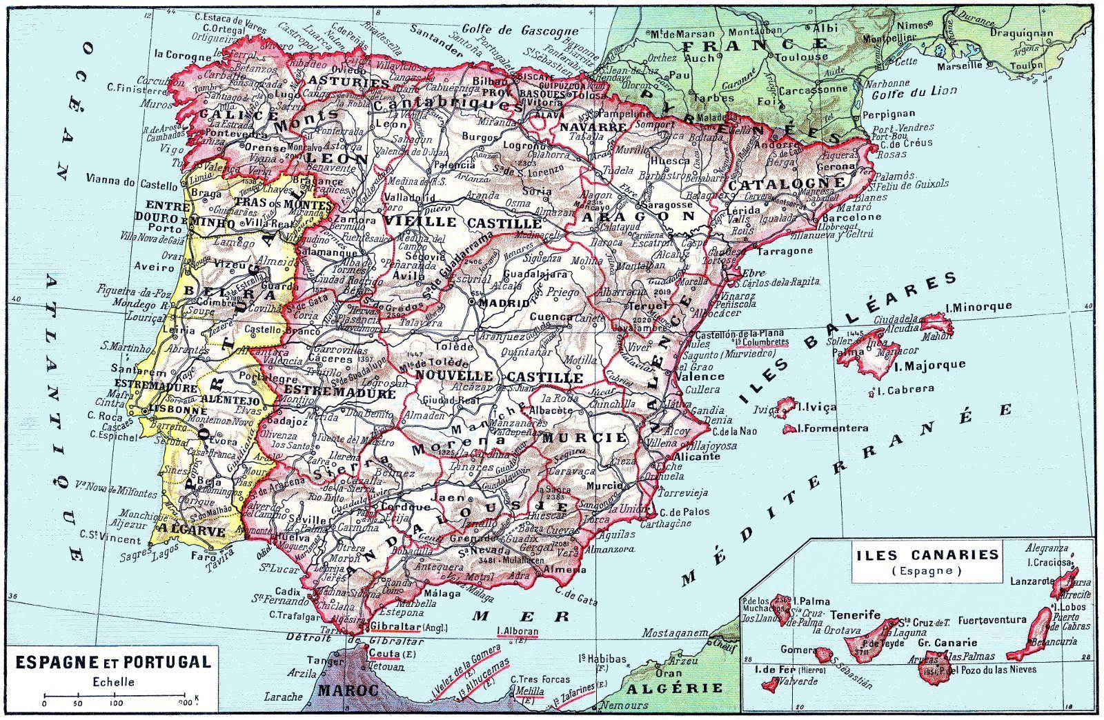 carte espagne 1800